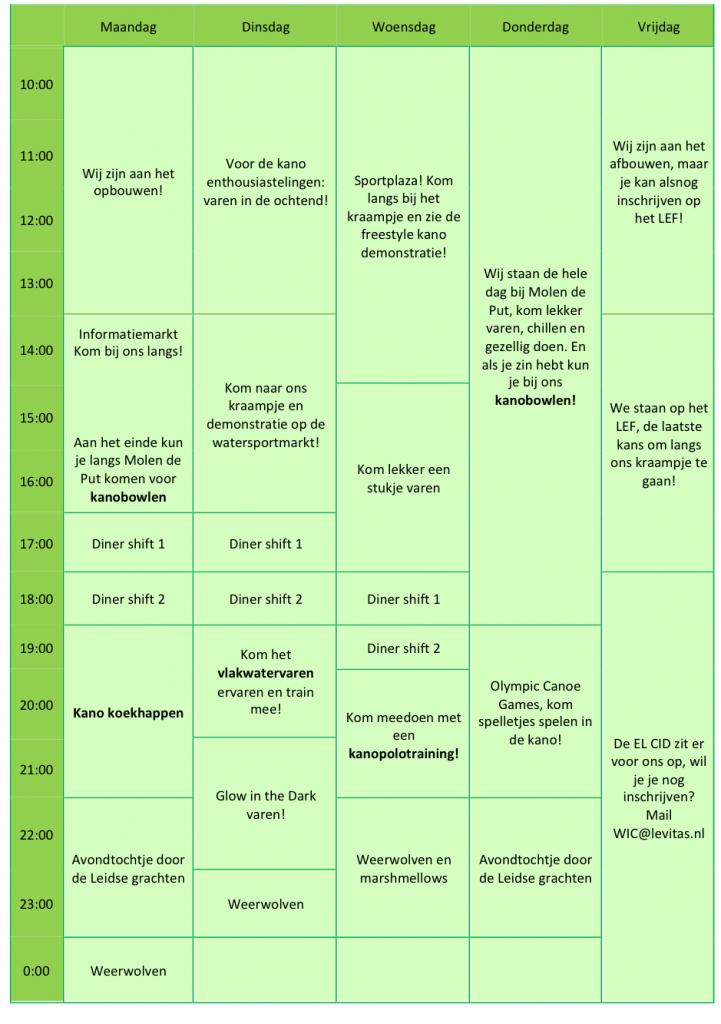 De planning van Levitas tijdens de EL CID!